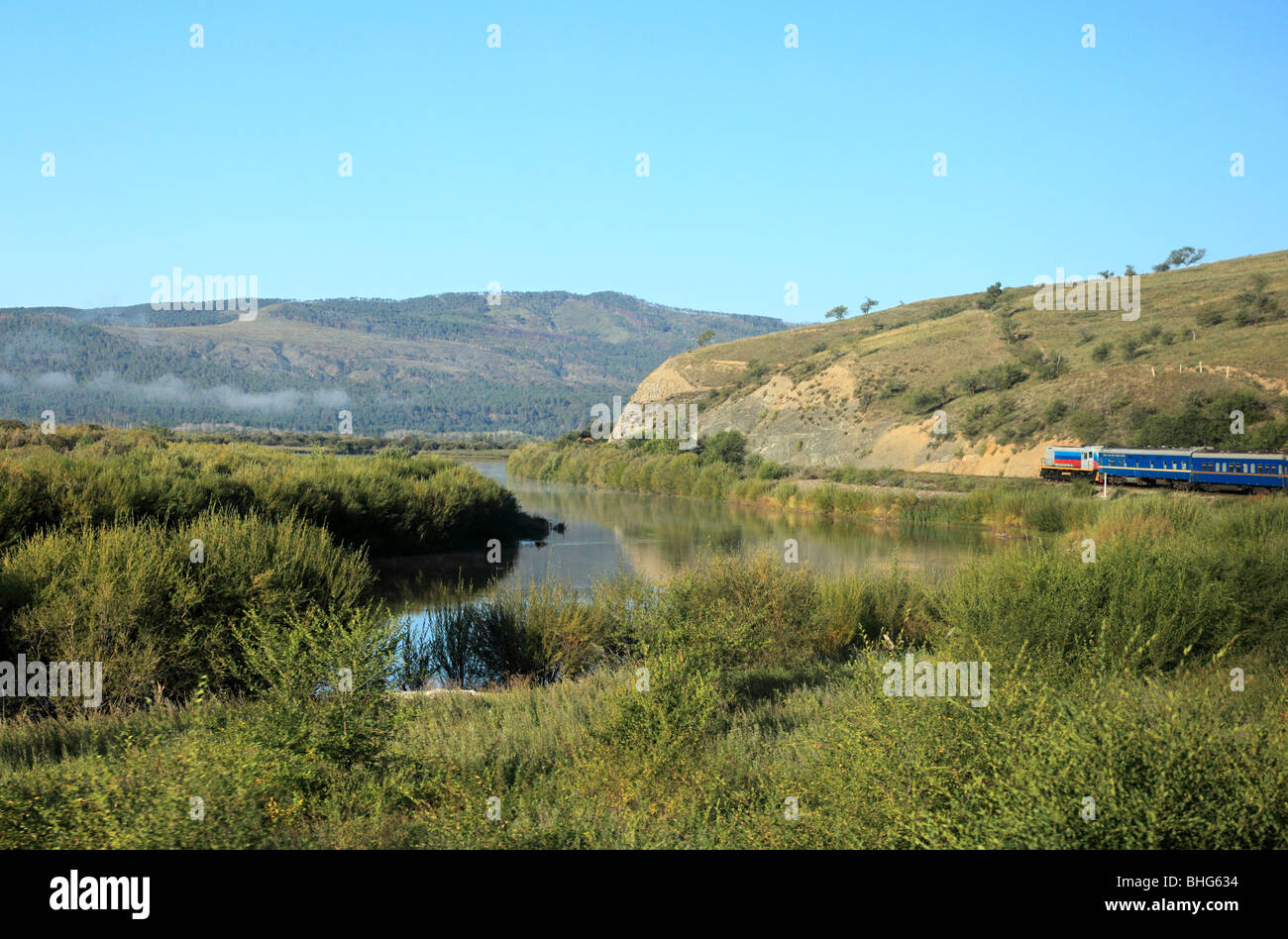 Landscape and trans-siberian express traveling towards mongolia - Stock Image