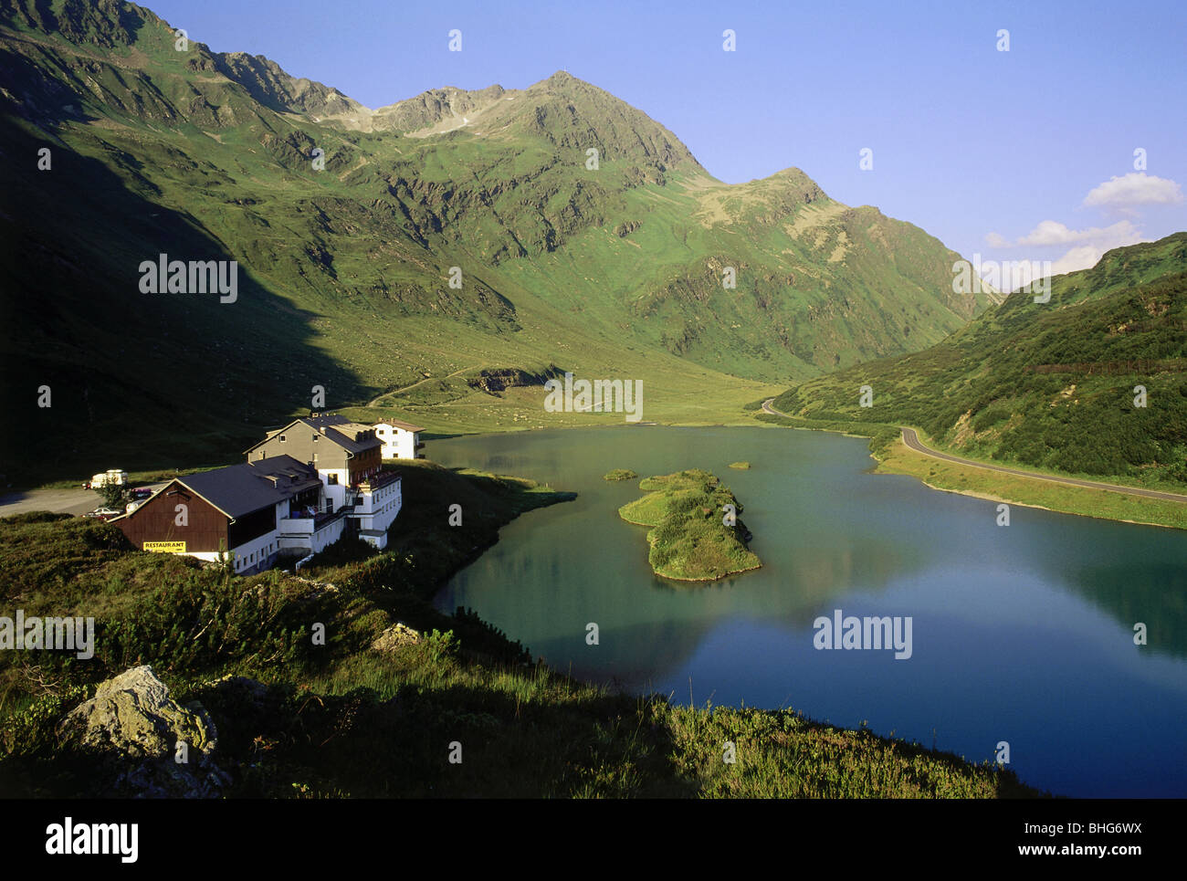 geography / travel, Austria, landscapes, view of the Kops Storage Lake with the Zeinisjoch Huette, Additional-Rights - Stock Image