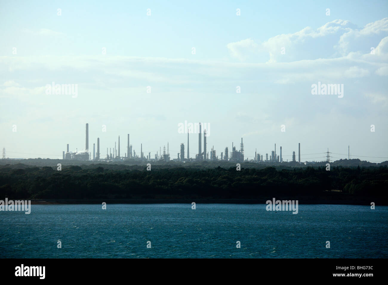 Southampton water and fawley oil refinery - Stock Image