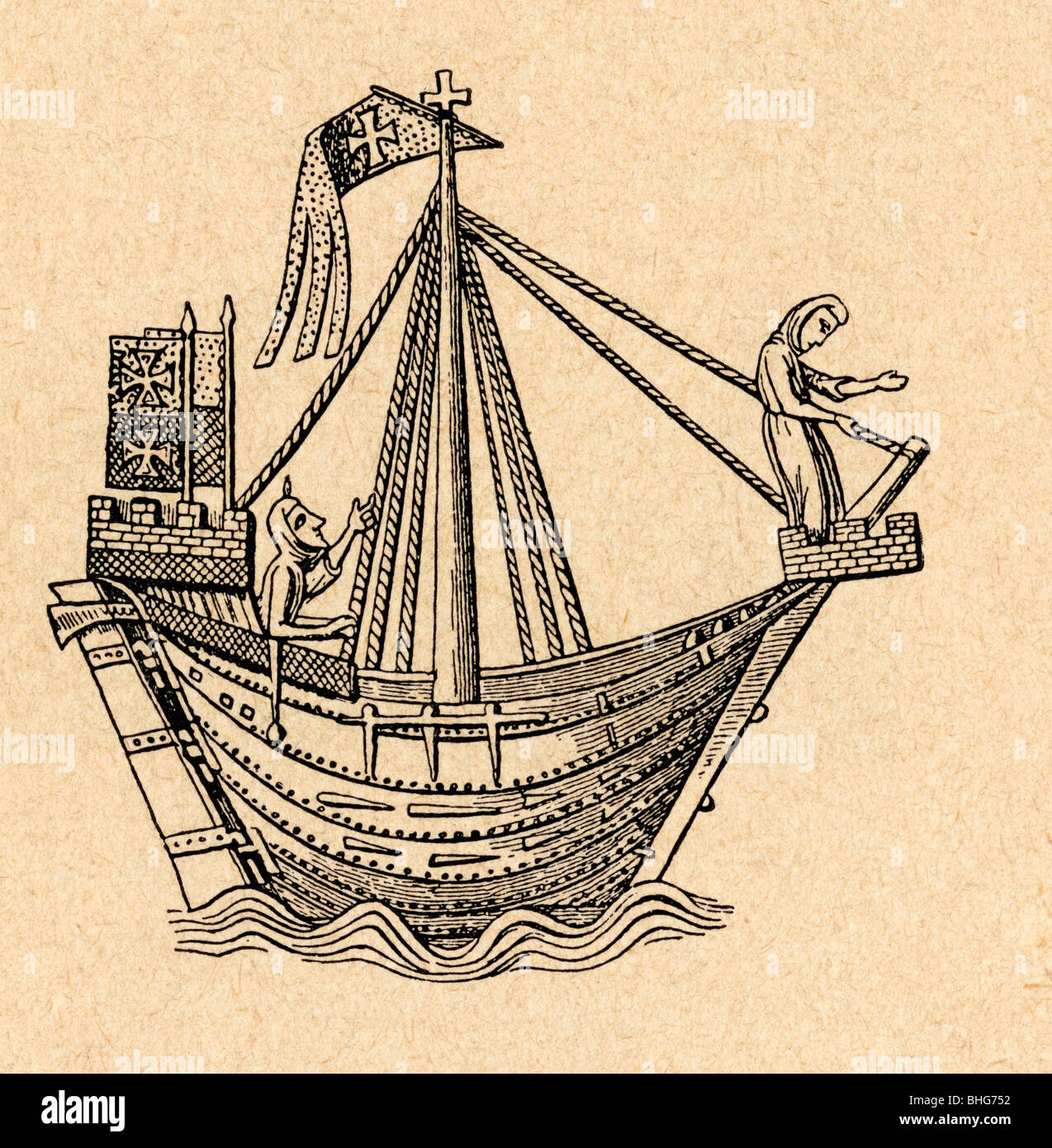 A 14th century sailing ship of the Hanseatic League. - Stock Image