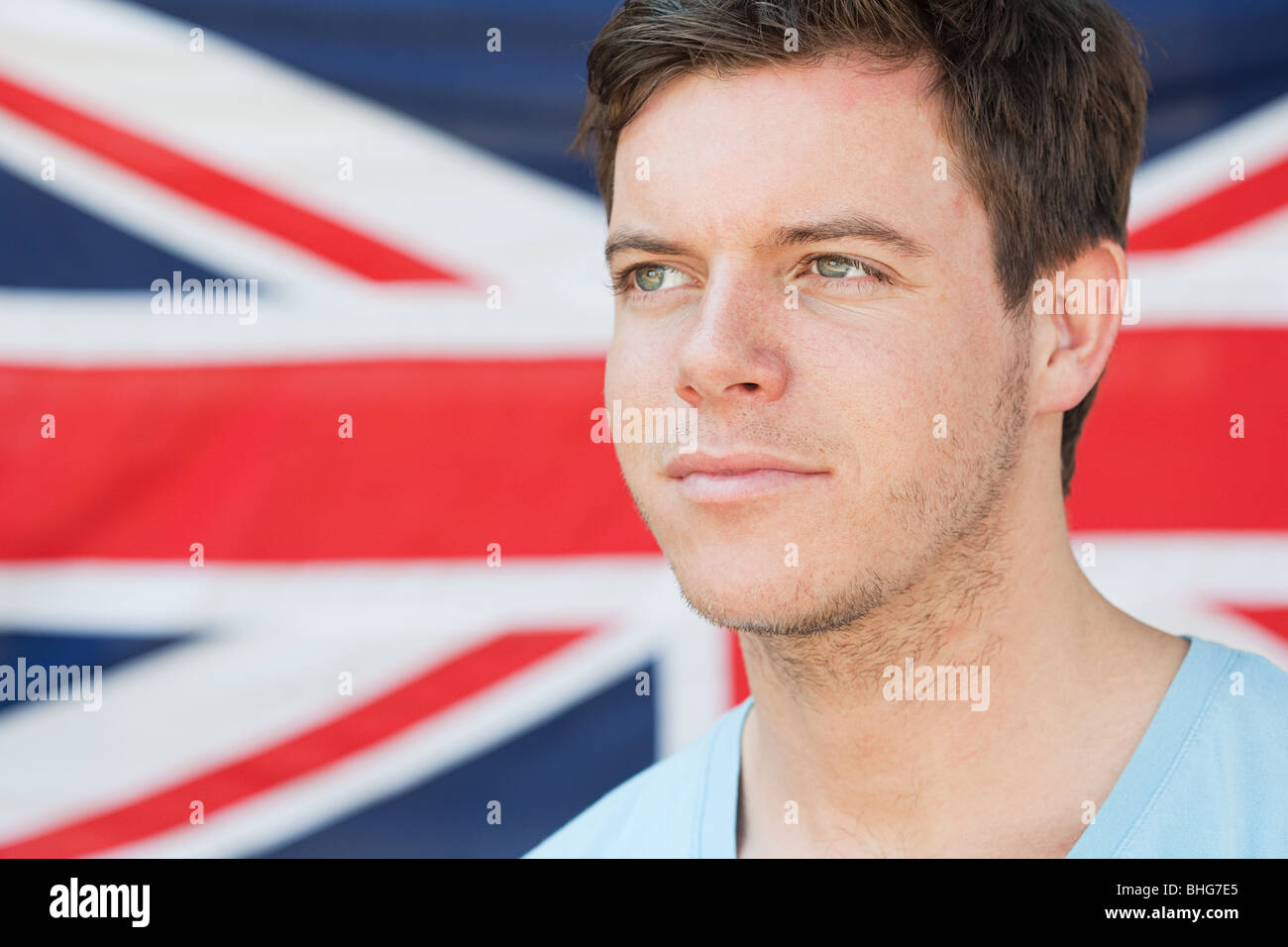 Young man and british flag Stock Photo