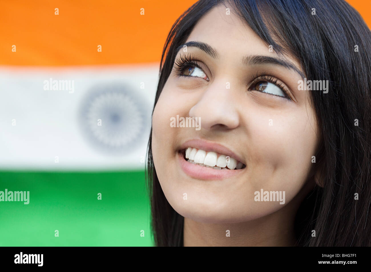 Teenage girl and indian flag - Stock Image