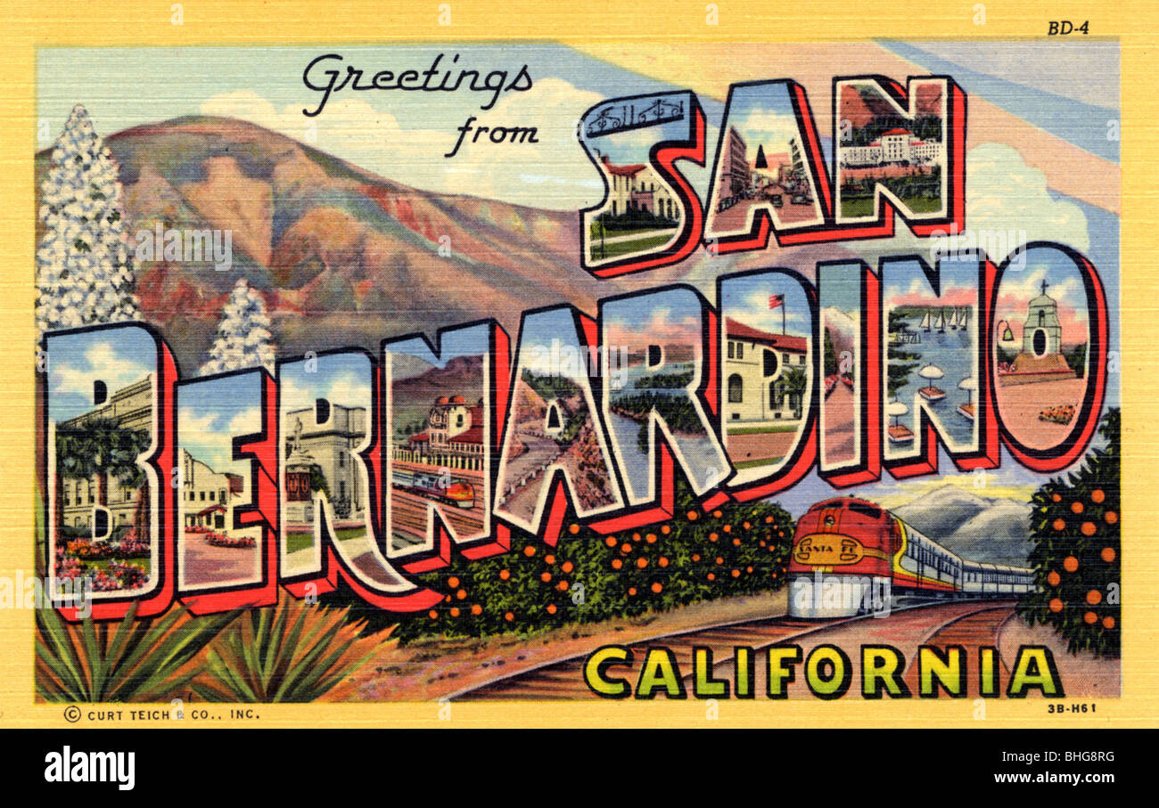 Railway postcard stock photos railway postcard stock images alamy greetings from san bernardino california postcard 1943 stock image m4hsunfo