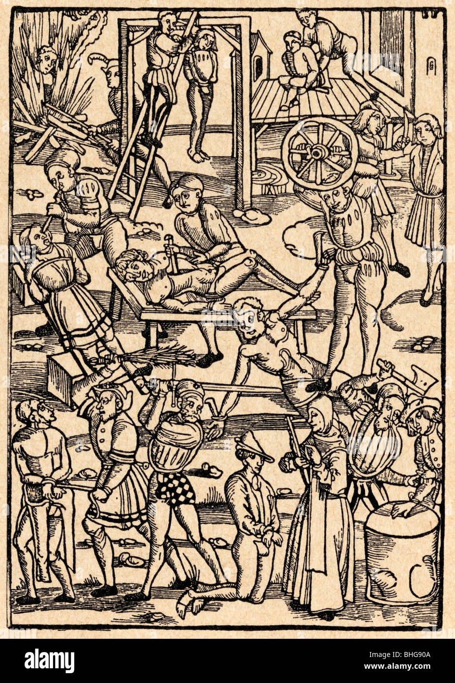 Torture and execution methods in the Middle Ages. - Stock Image