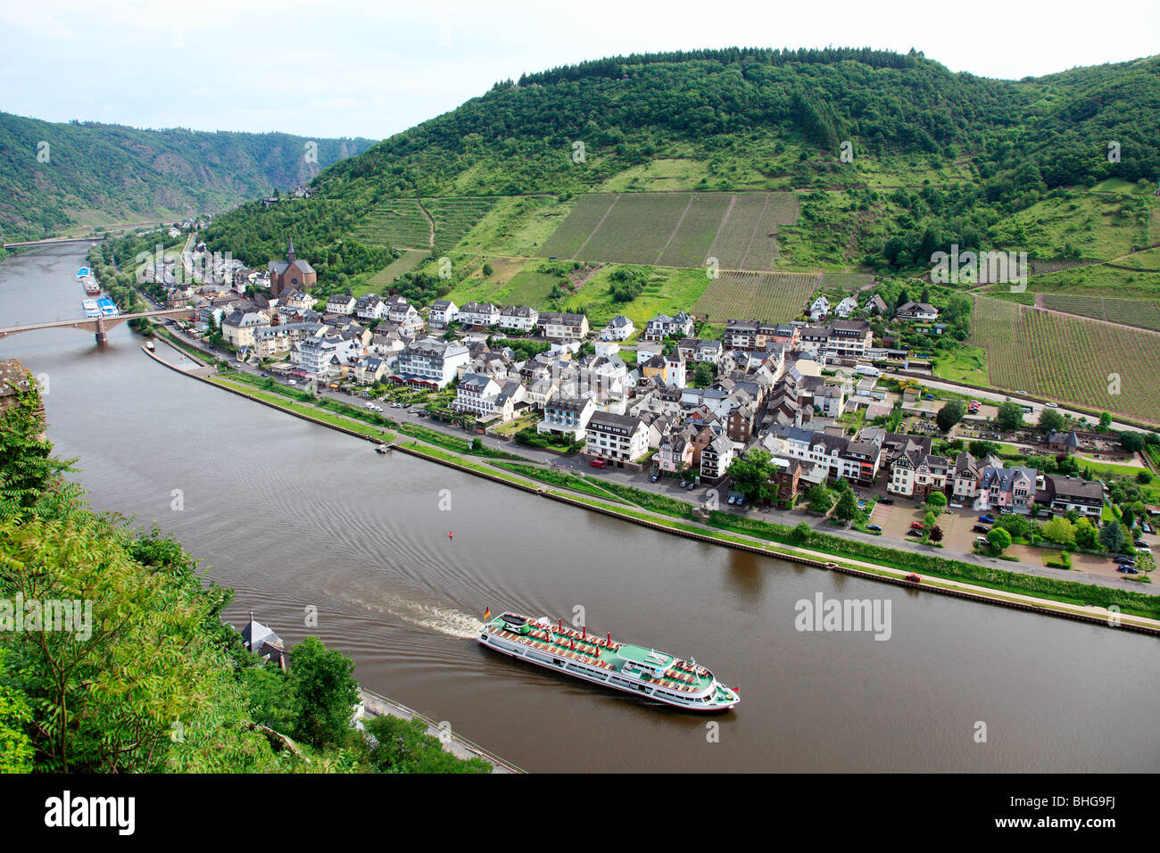 A tour boat on the rhine - Stock Image