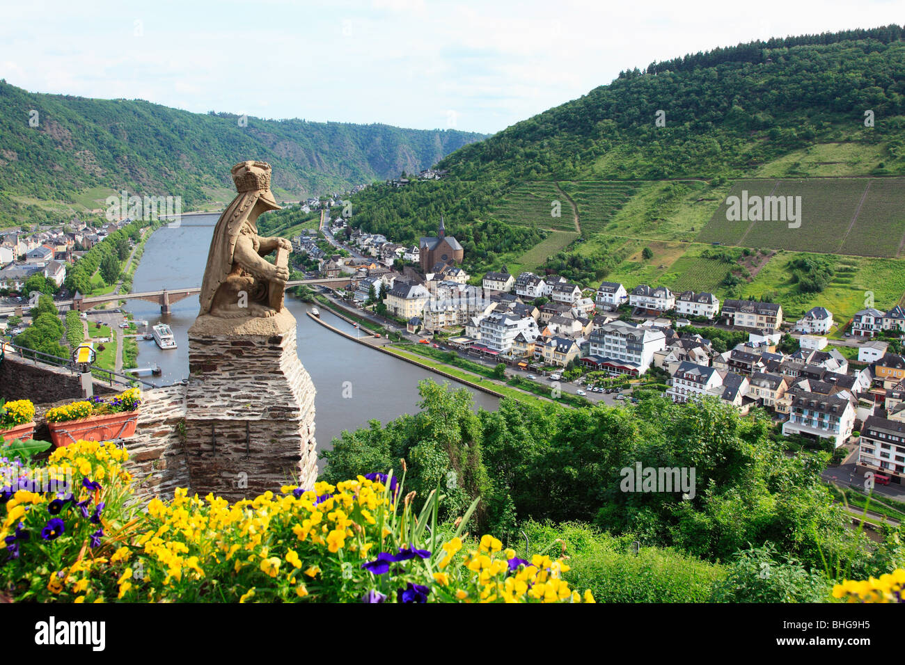 A view over german towns and the rhine - Stock Image