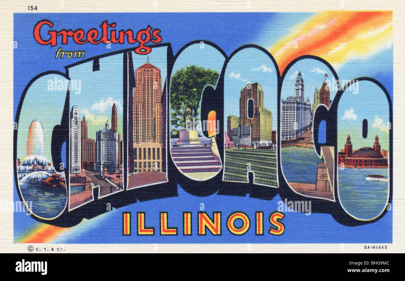 Greetings from chicago illinois postcard 1935 stock photo greetings from chicago illinois postcard 1935 m4hsunfo