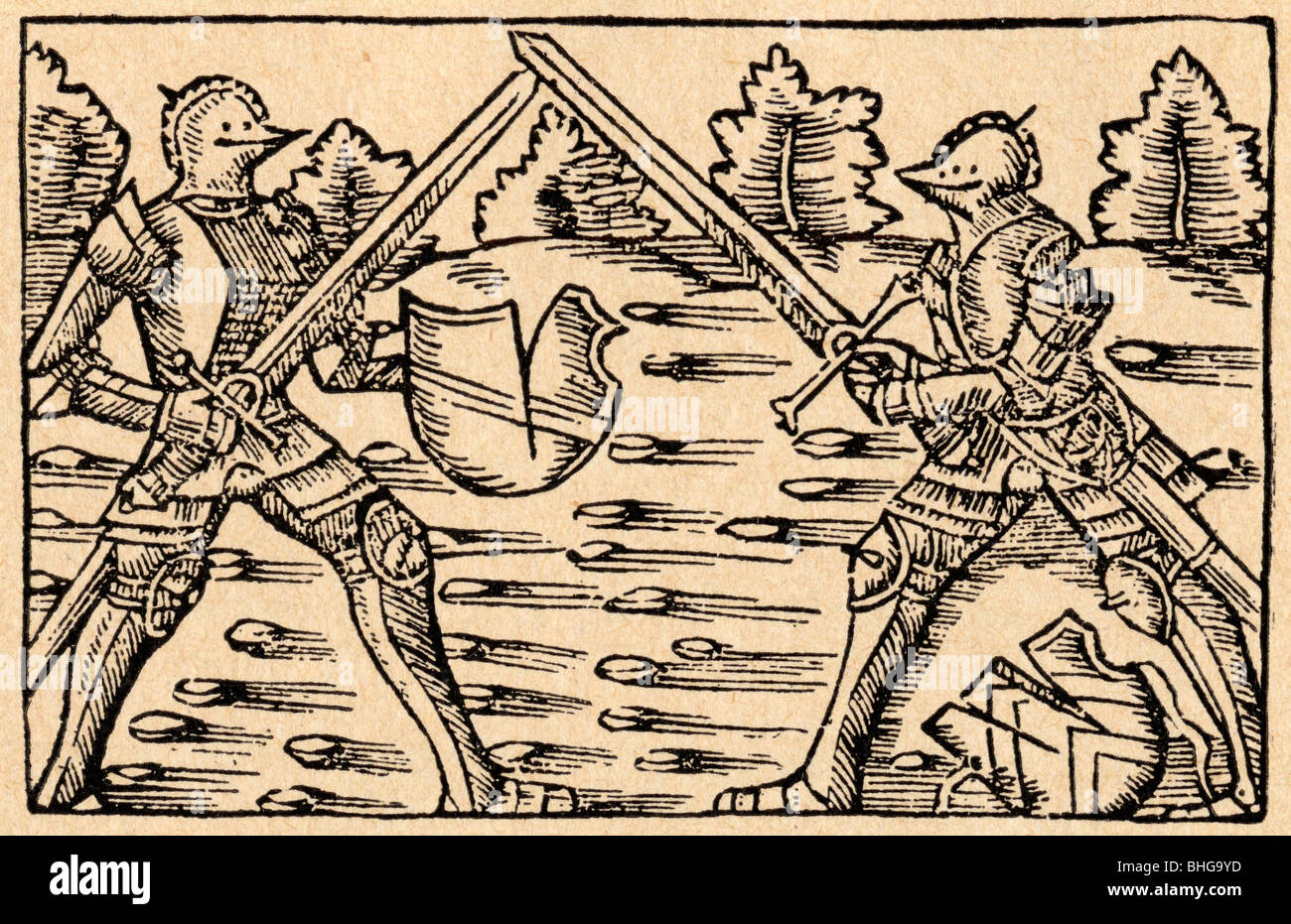 Single combat between knights in full armour. - Stock Image