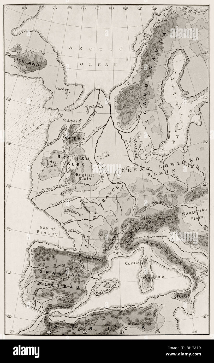 Map of Western Europe during the Third Inter-Glacial Epoch. - Stock Image