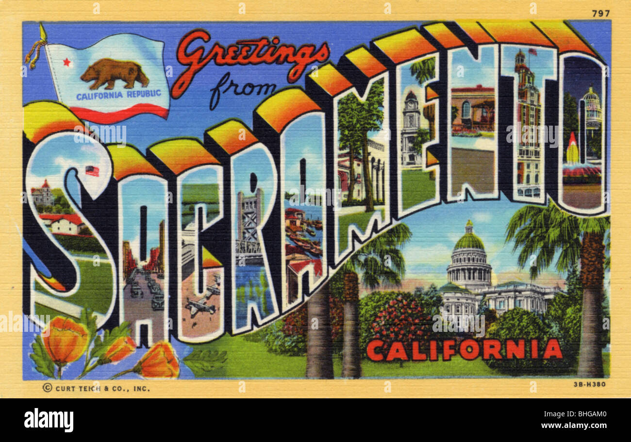 Greetings from sacramento california postcard 1943 stock photo greetings from sacramento california postcard 1943 m4hsunfo