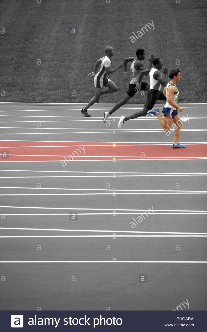 Sprinters on race track - Stock Image