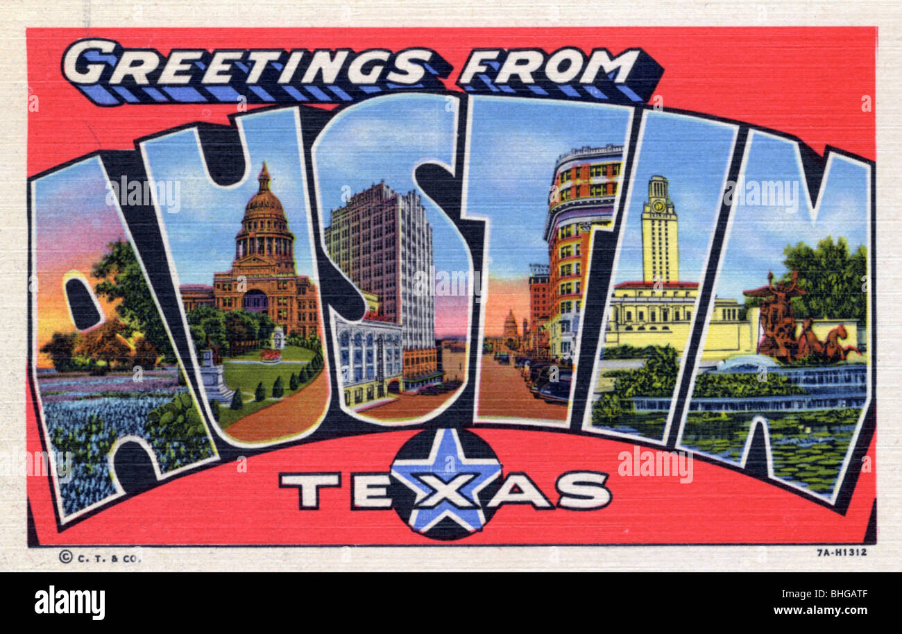 Greetings from texas postcard stock photos greetings from texas greetings from austin texas postcard 1937 stock image m4hsunfo