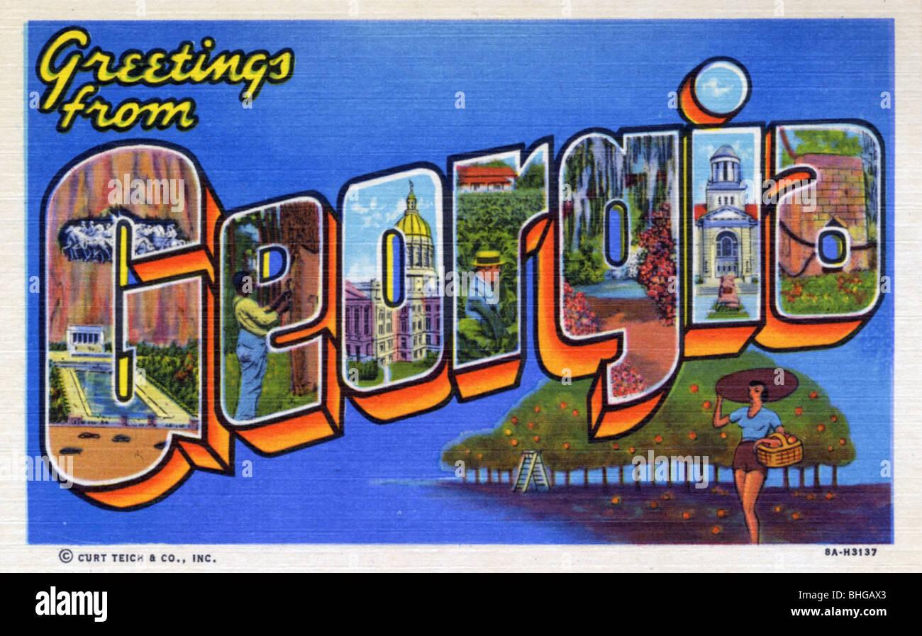 Greetings From Georgia Postcard 1938 Stock Photo 28019323 Alamy