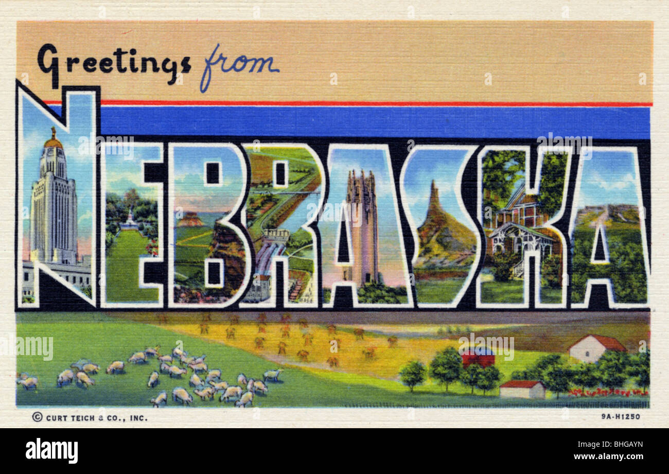 Greetings from usa postcard stock photos greetings from usa greetings from nebraska postcard 1939 stock image m4hsunfo