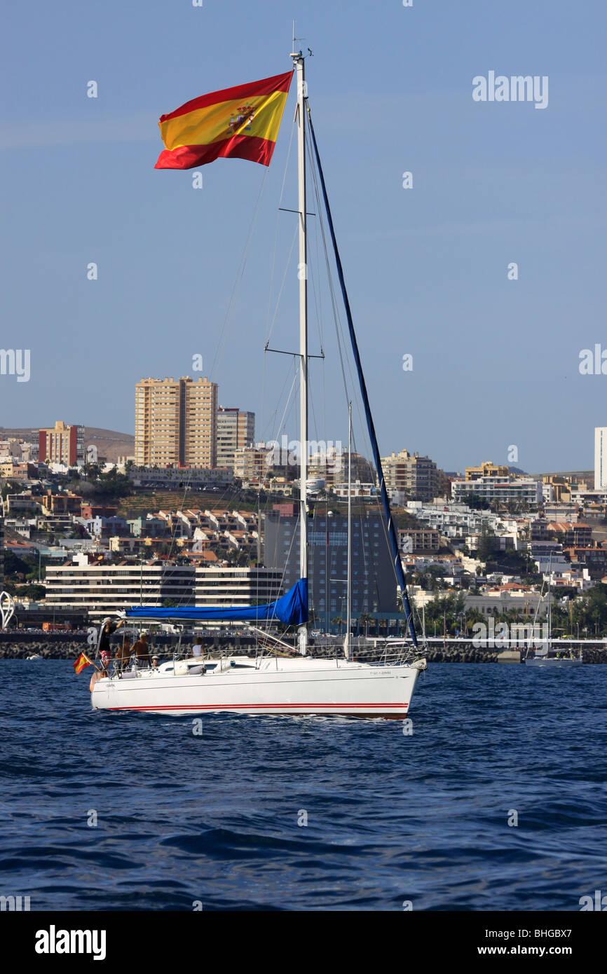Participants at the Atlantic Race for Cruisers (ARC) leaving Las Palmas de Gran Canaria Harbour. - Stock Image