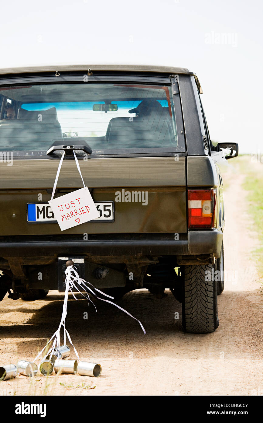 Just married sign on vehicle Stock Photo