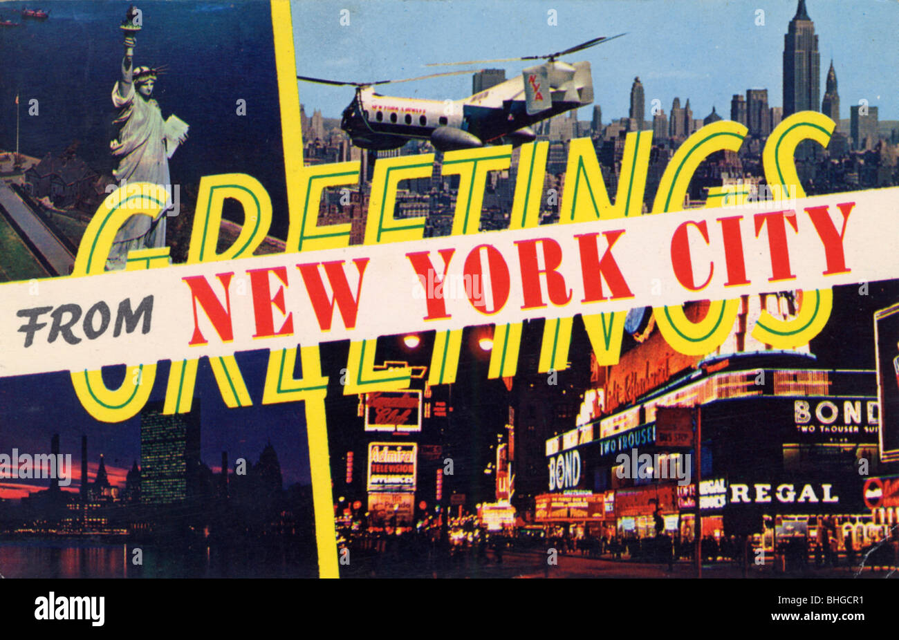 Greetings From New York City Postcard 1961 Stock Photo 28020805