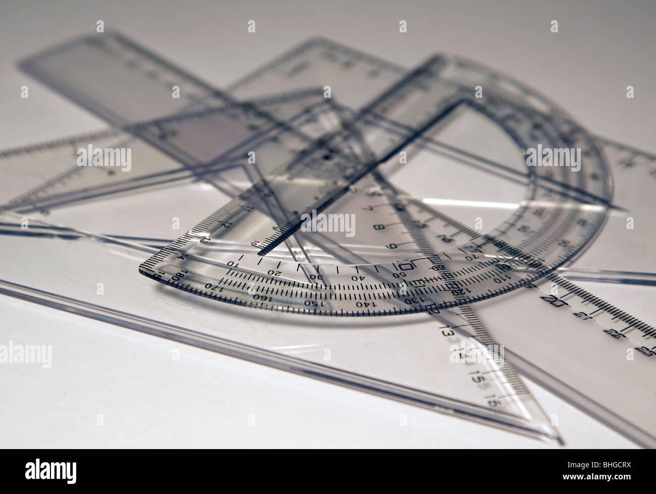 Rulers and set squares - Stock Image