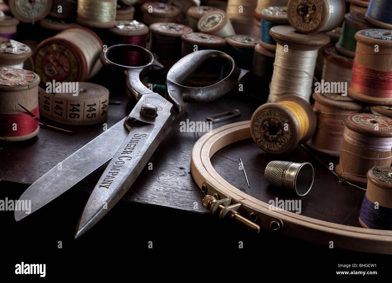 Vintage sewing scene still life - Stock Image