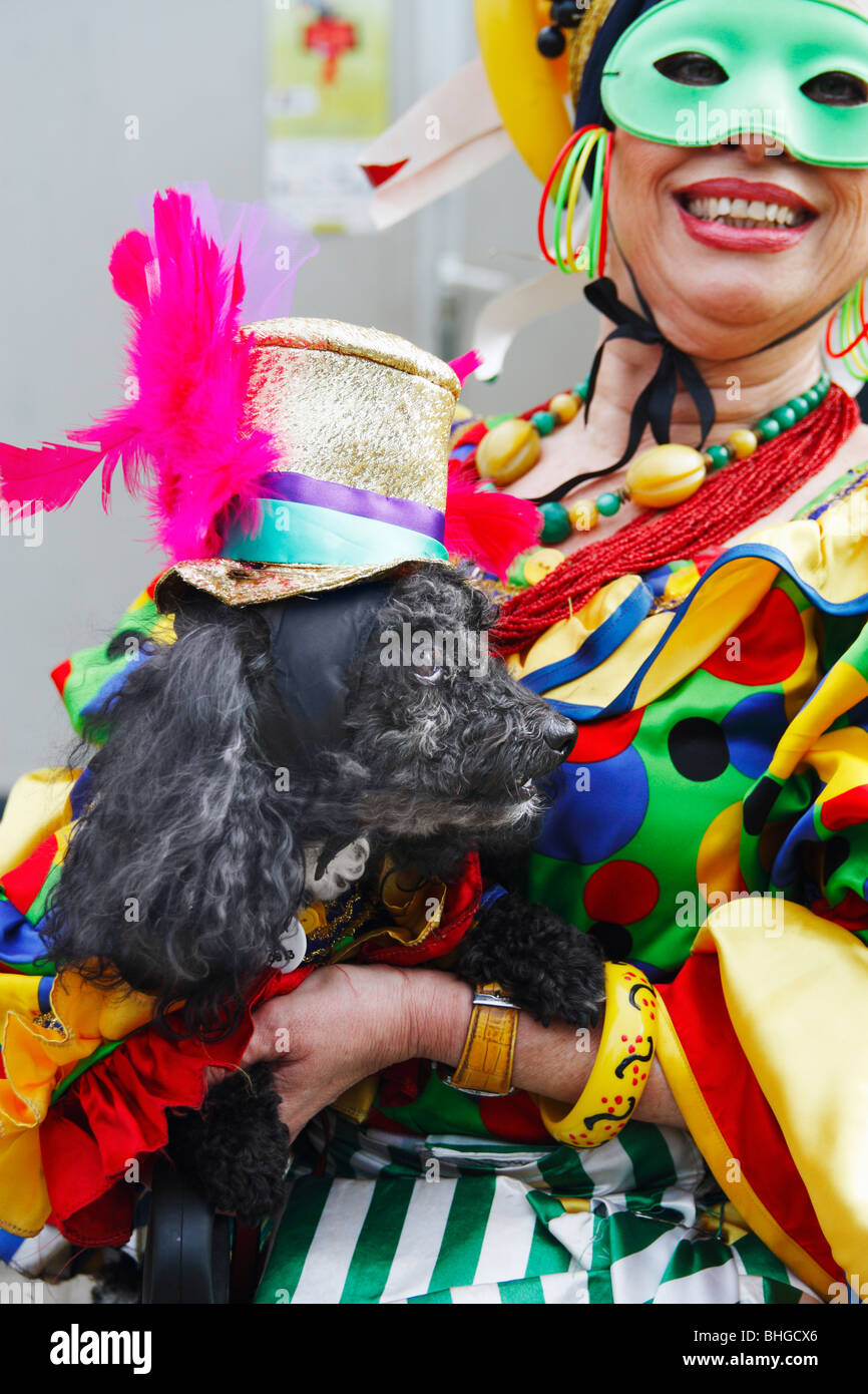 Owner and dog at fancy dress competition for dogs at Las Palmas carnival 2010 on Gran Canaria - Stock Image
