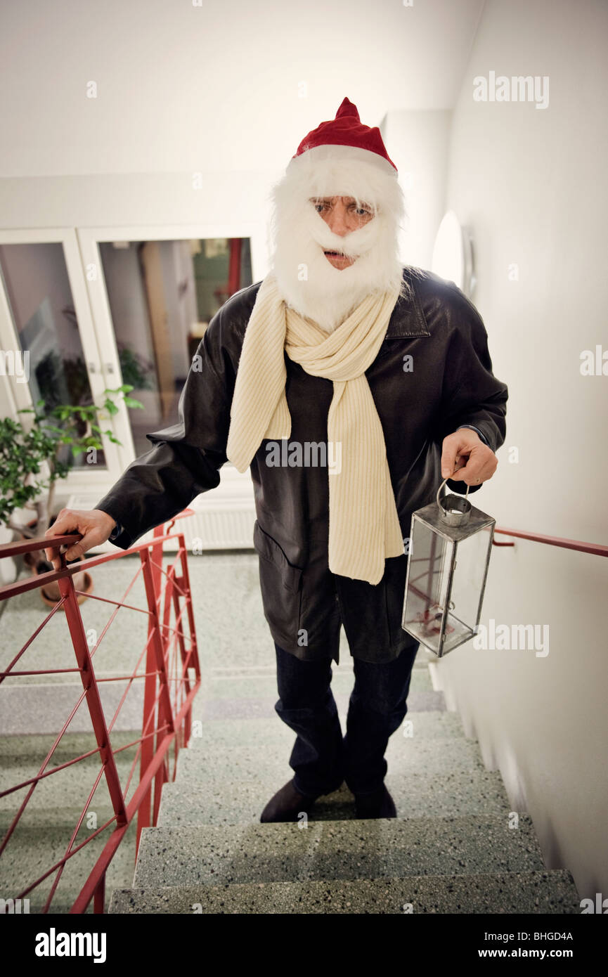 A worn out Santa Claus, Sweden. - Stock Image