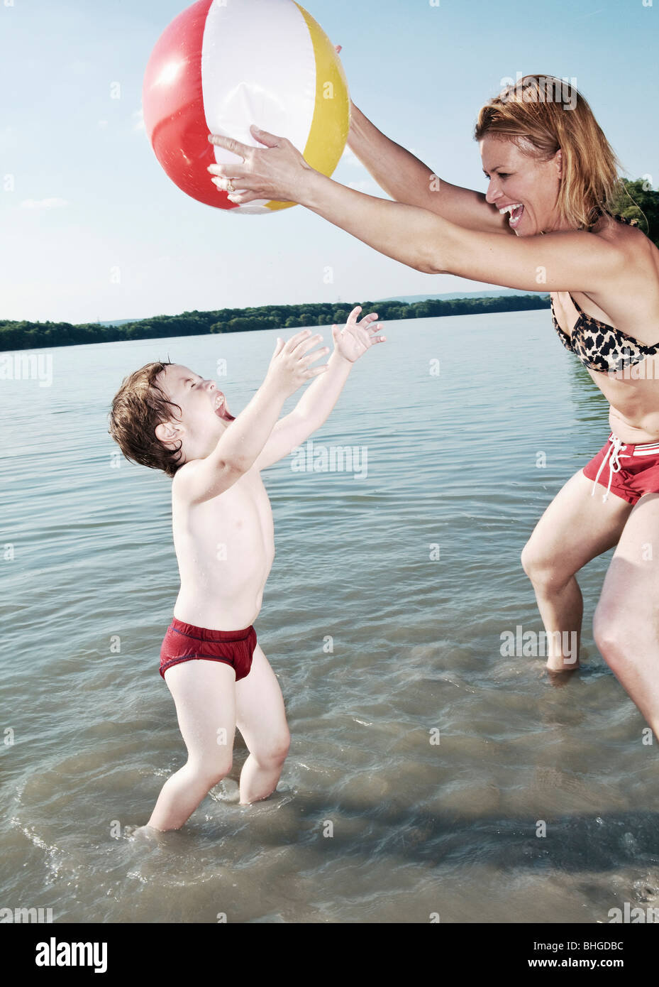 mother playing with child - Stock Image