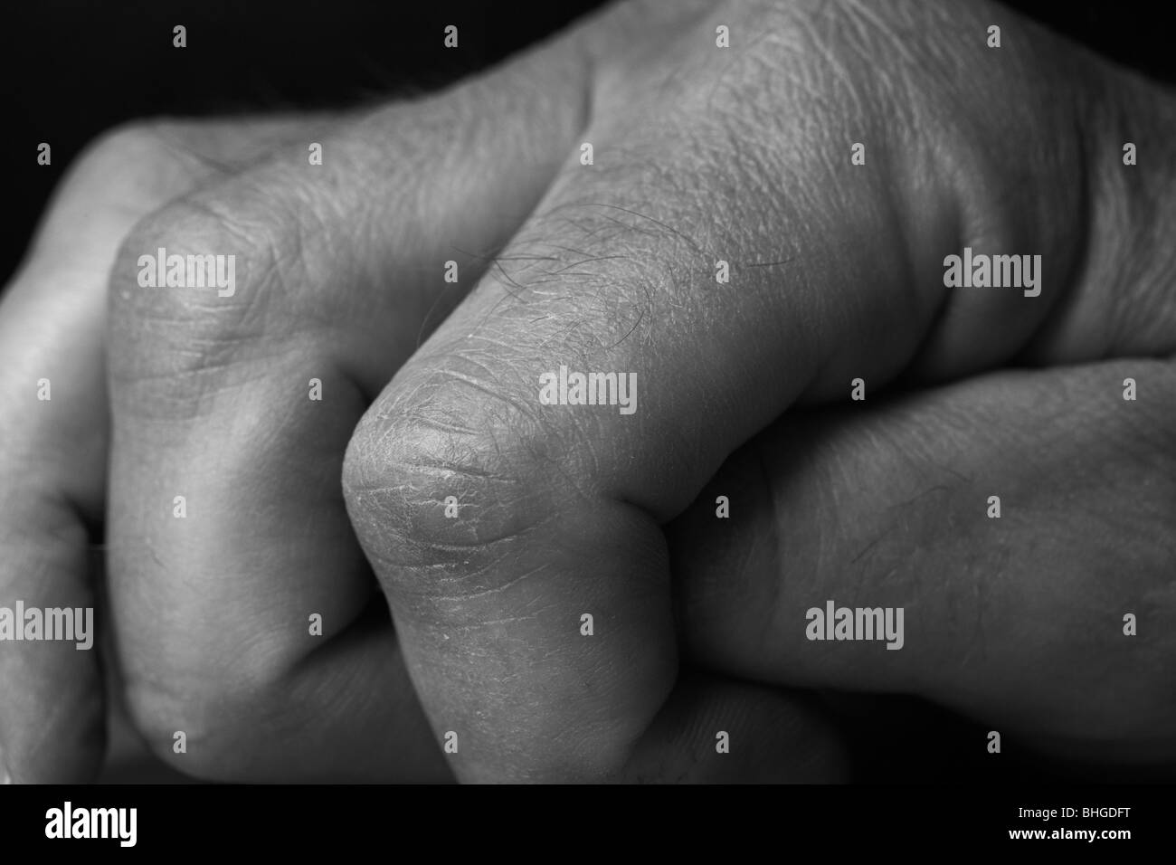 Fingers, close-up, Sweden. - Stock Image