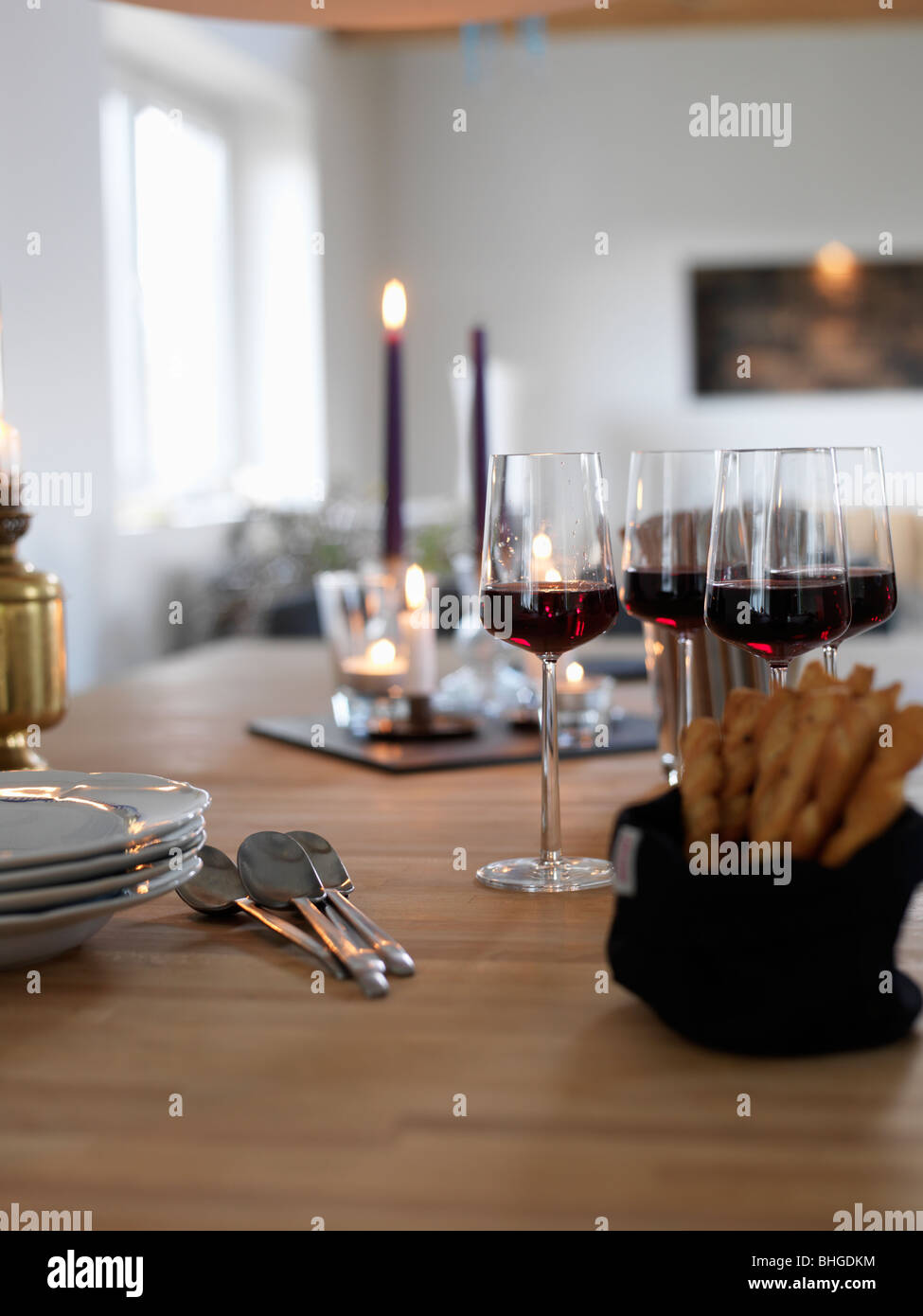 A table ready laid, Sweden. - Stock Image