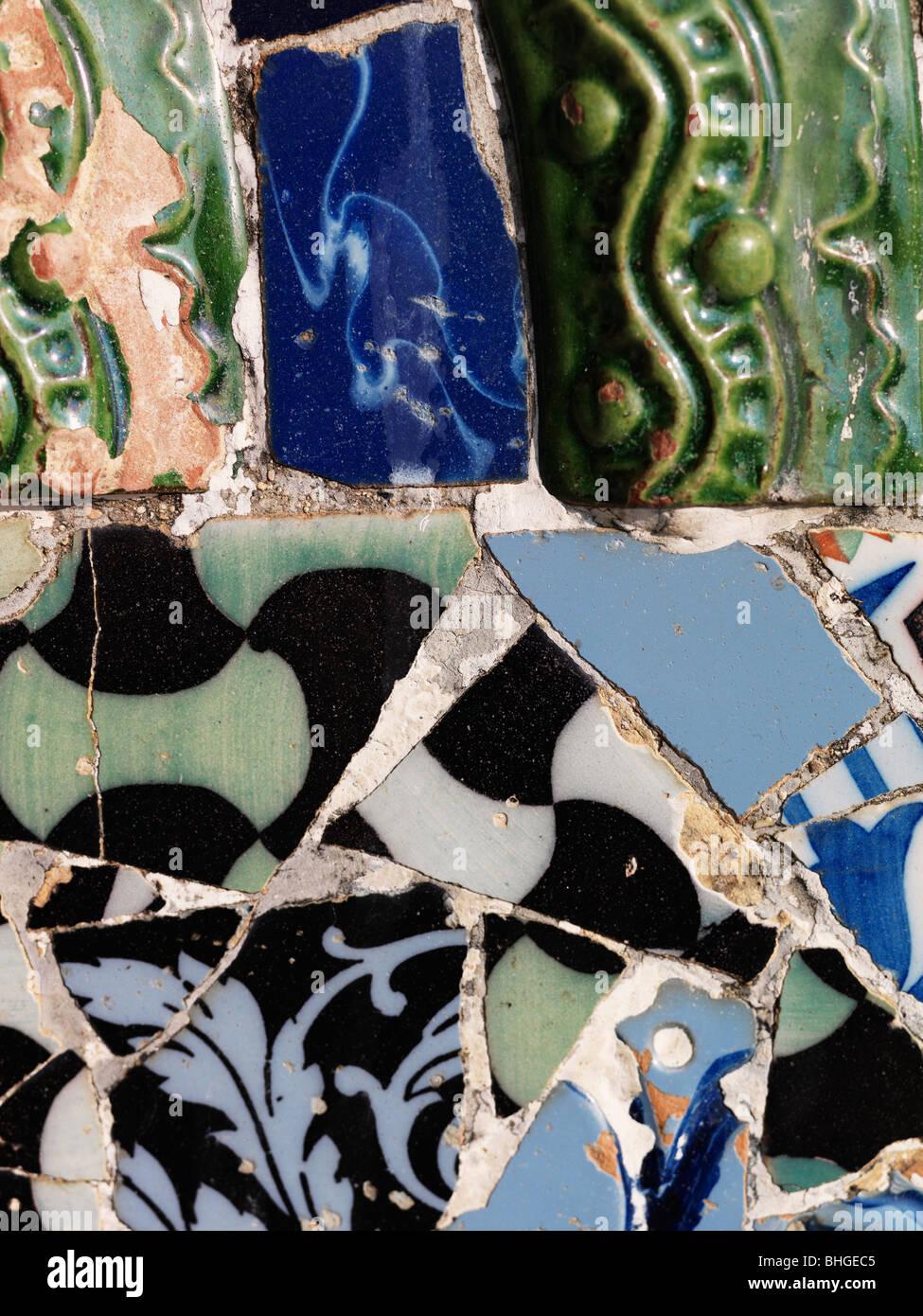 Mosaic of broken glazed tiles, Spain. - Stock Image
