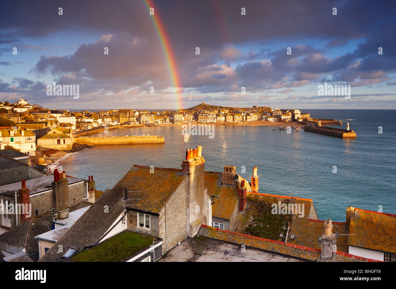 A gift for Christmas! Rainbow above St Ives harbour on Christmas Day 2009. - Stock Image