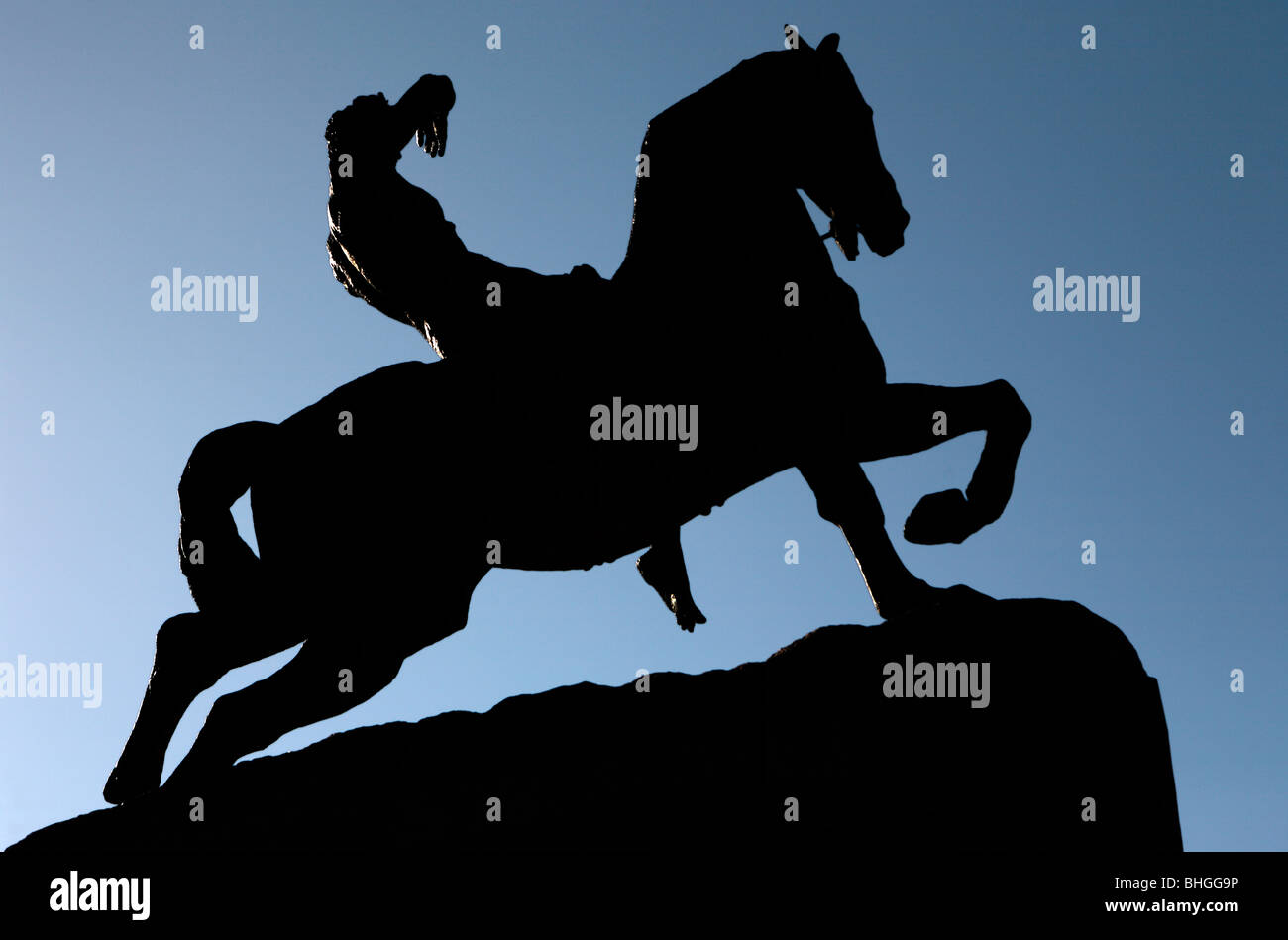 Horse and Rider Statue - Stock Image