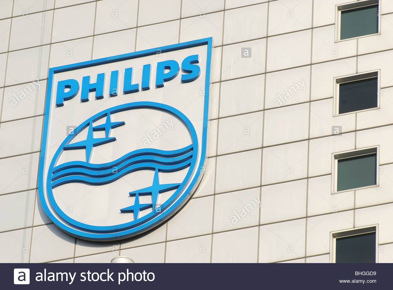 Amsterdam The Netherlands Philips Electronics logo on the side of the Head offices (Breitnertoren). - Stock Image