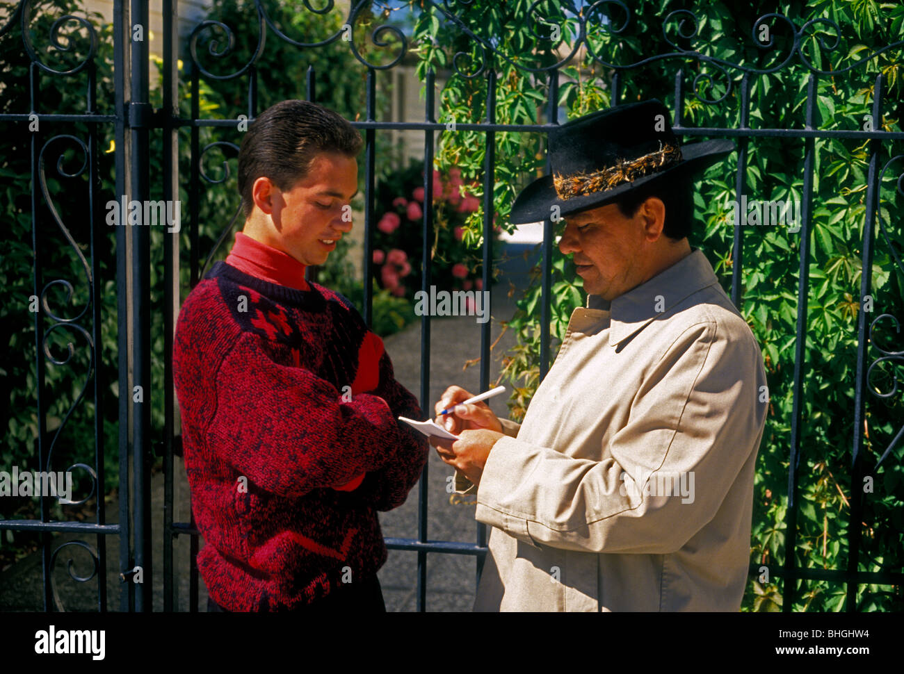 Guatemalan-Americans, father and son, Novato, California, United States, North America - Stock Image