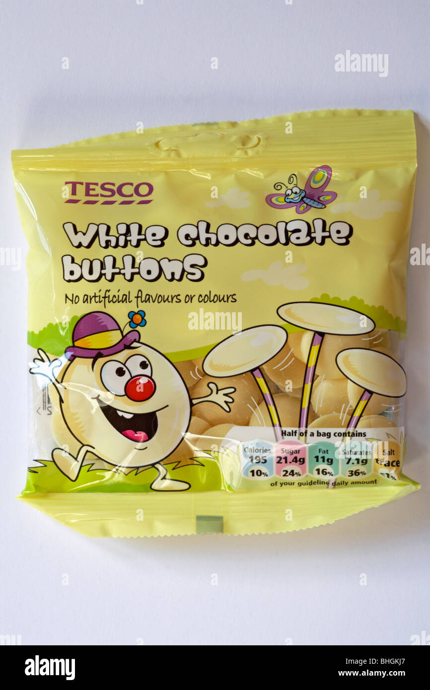 Bag Of Tesco White Chocolate Buttons Isolated On White