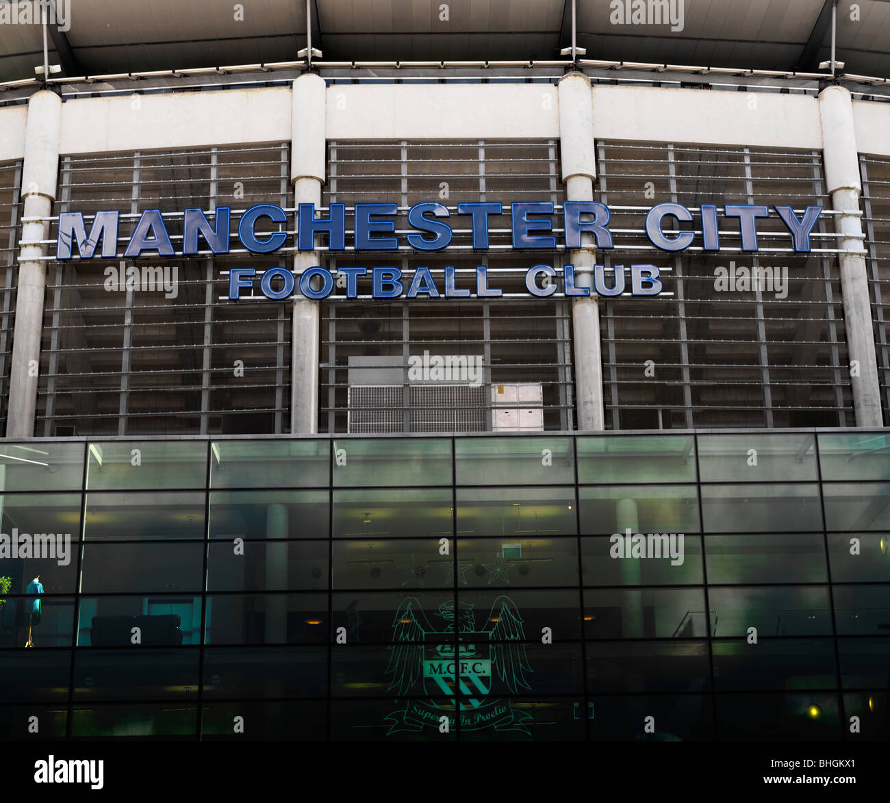 Manchester City Football Club stadium front entrance - Stock Image