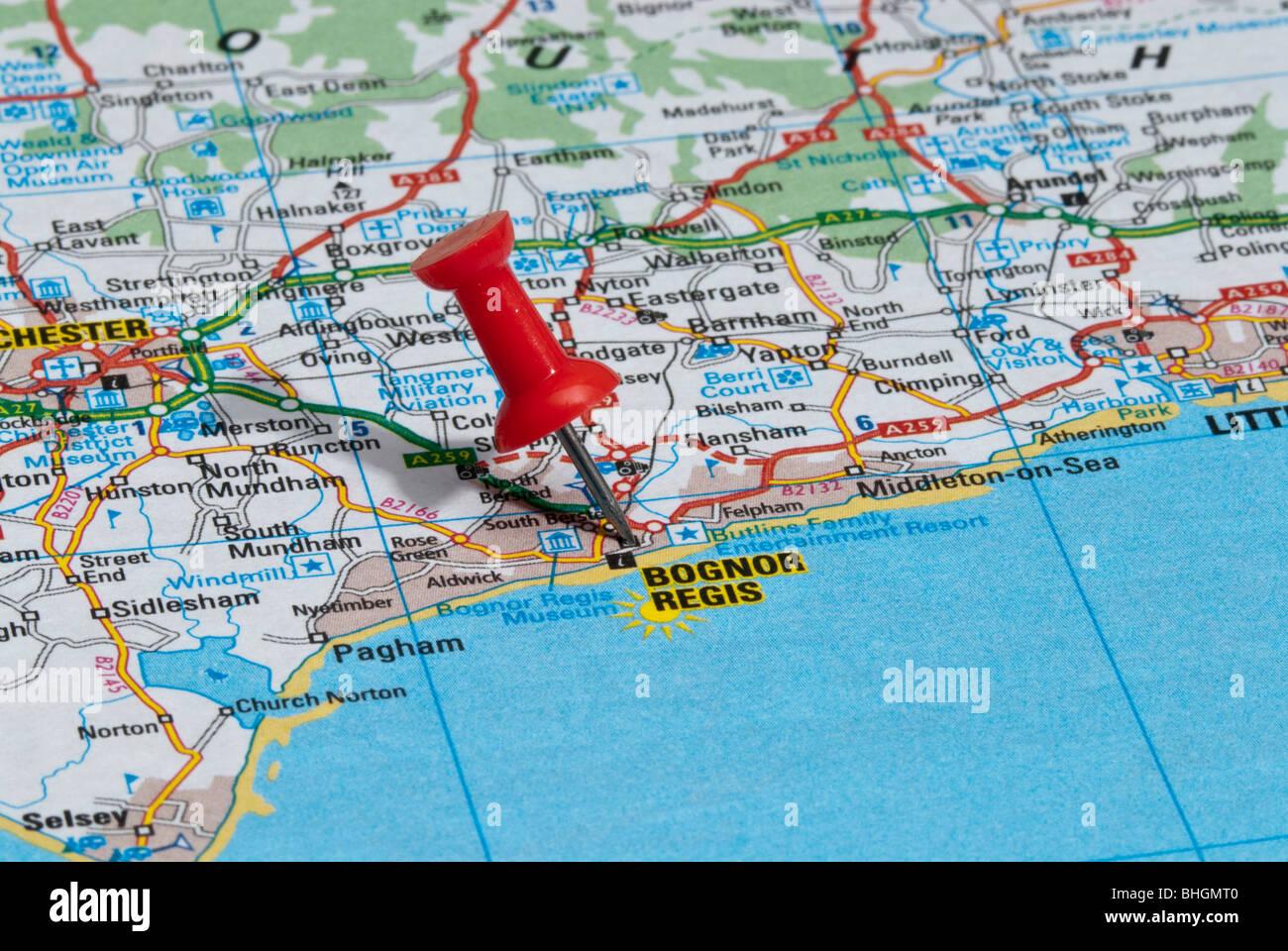 Map Of Bognor Regis red map pin in road map pointing to city of Bognor Regis Stock  Map Of Bognor Regis