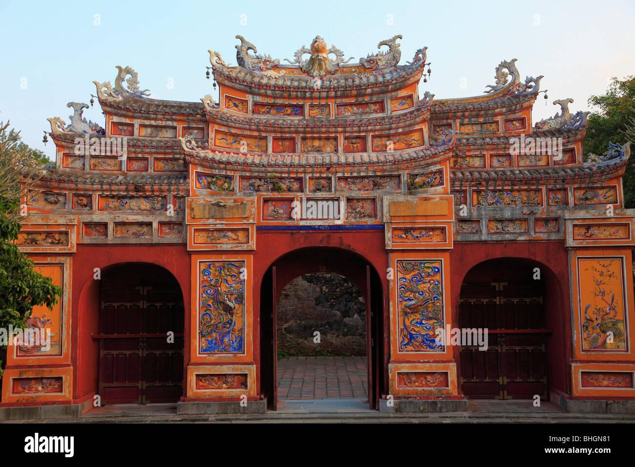 Vietnam, Hue, Citadel, Imperial Enclosure, Mieu Mon Temple Gate, Stock Photo