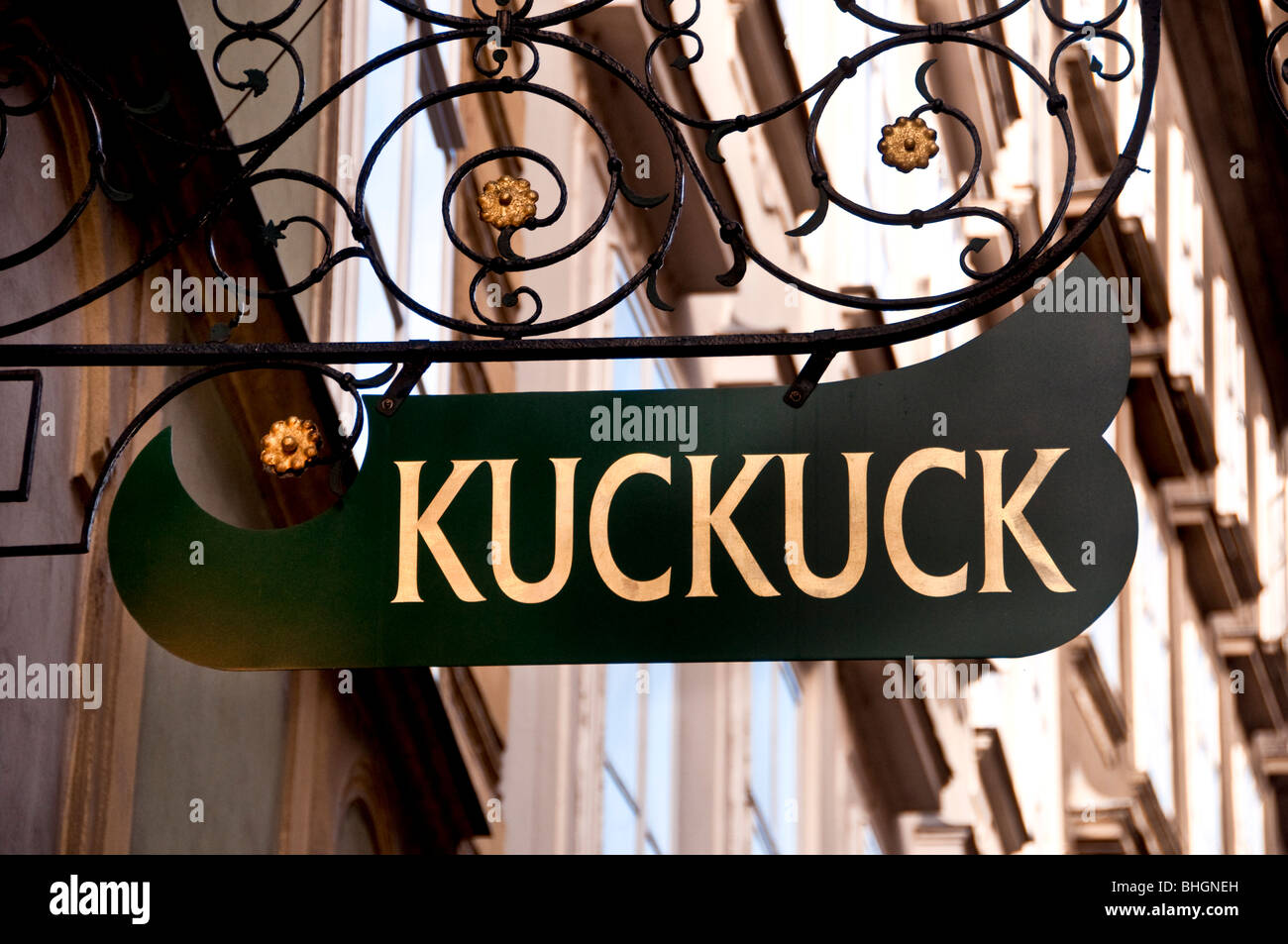 Sign outside the Kuckuck restaurant in central Vienna Austria - Stock Image