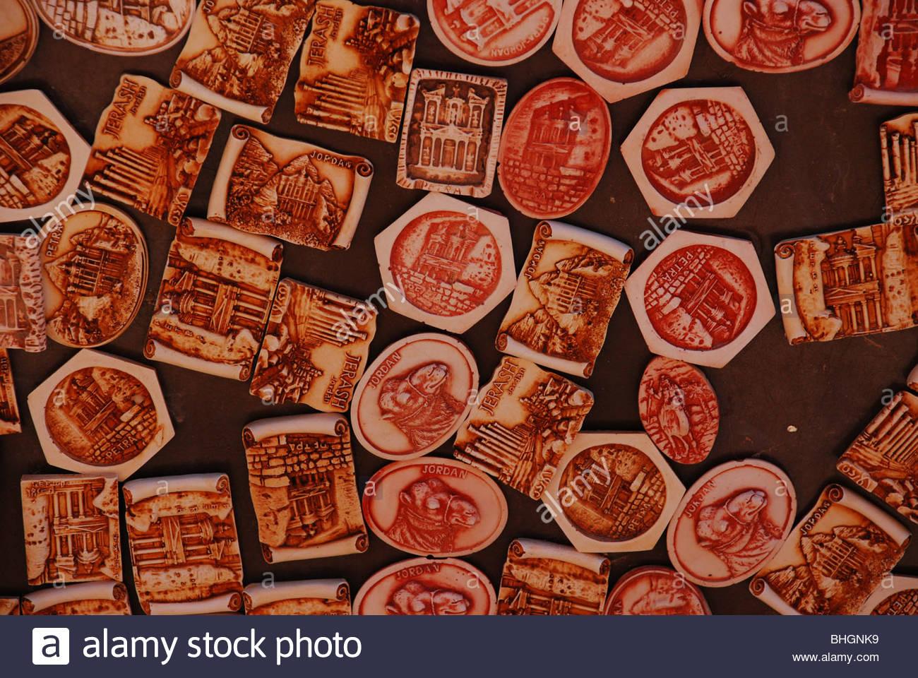 A display of fridge magnets showing an assortment of images Petra Jordan Stock Photo