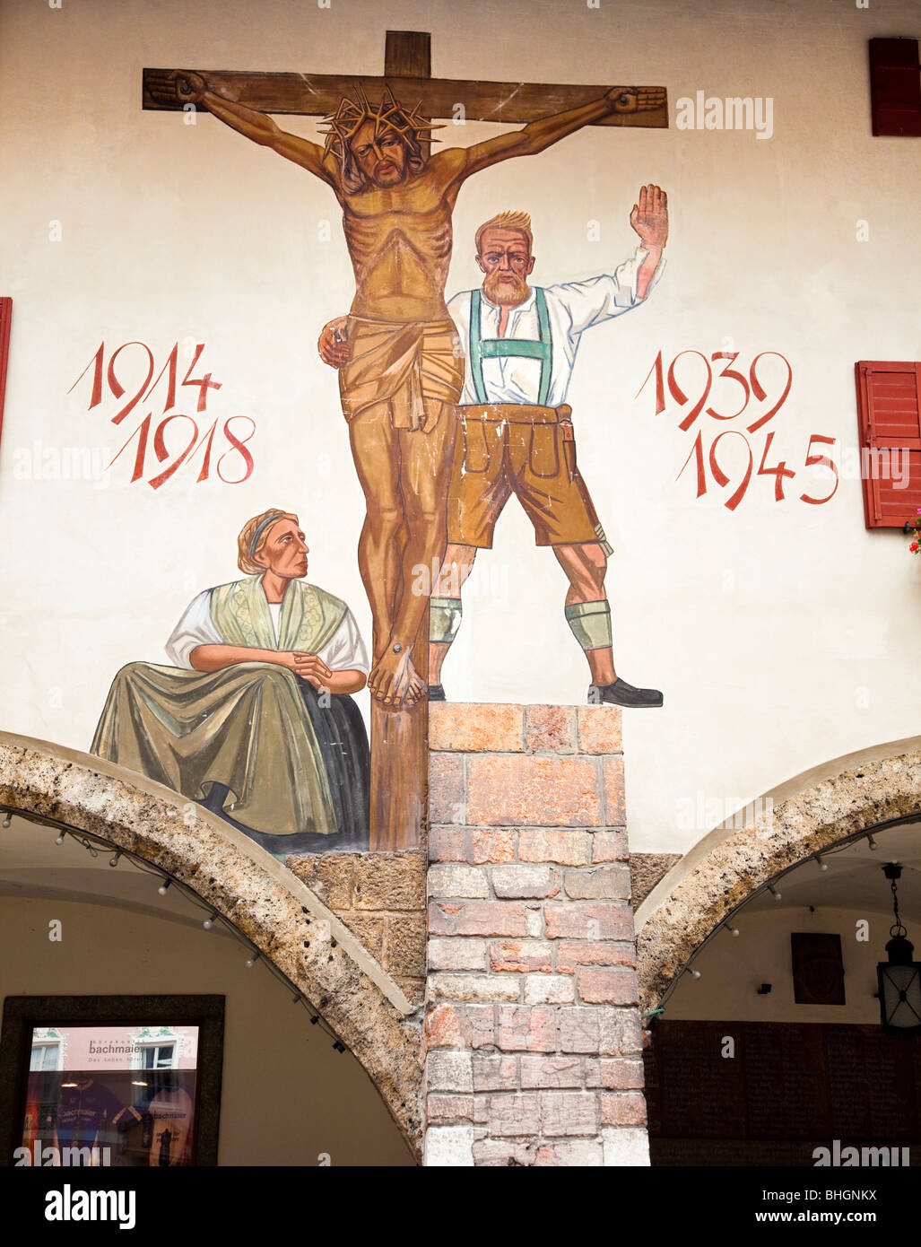 Murals showing dates of two world wars on the Old Fortification building in Berchtesgaden, Bavaria, Germany, Europe - Stock Image
