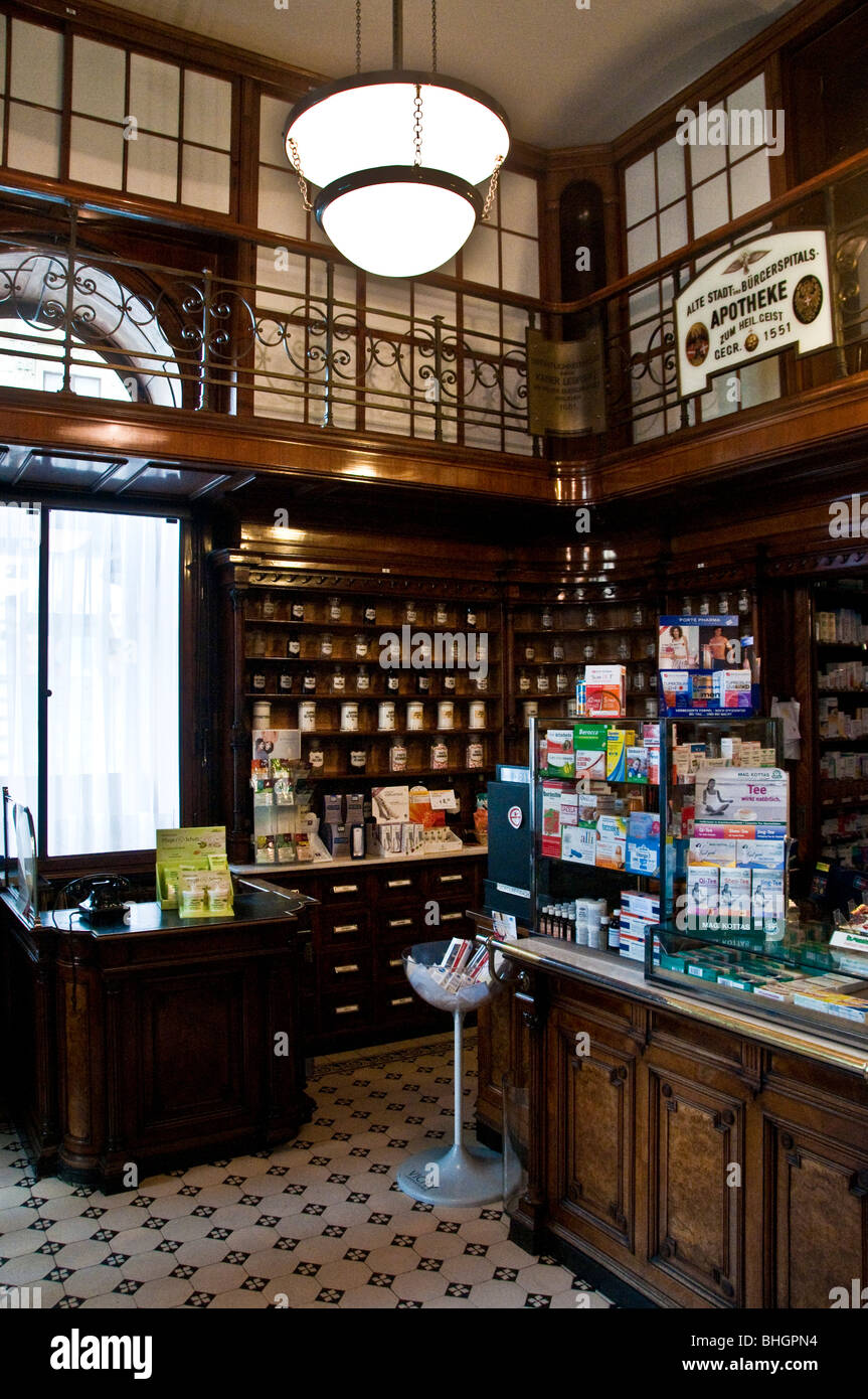 Old time drugstore or pharmacy in Vienna Austria - Stock Image
