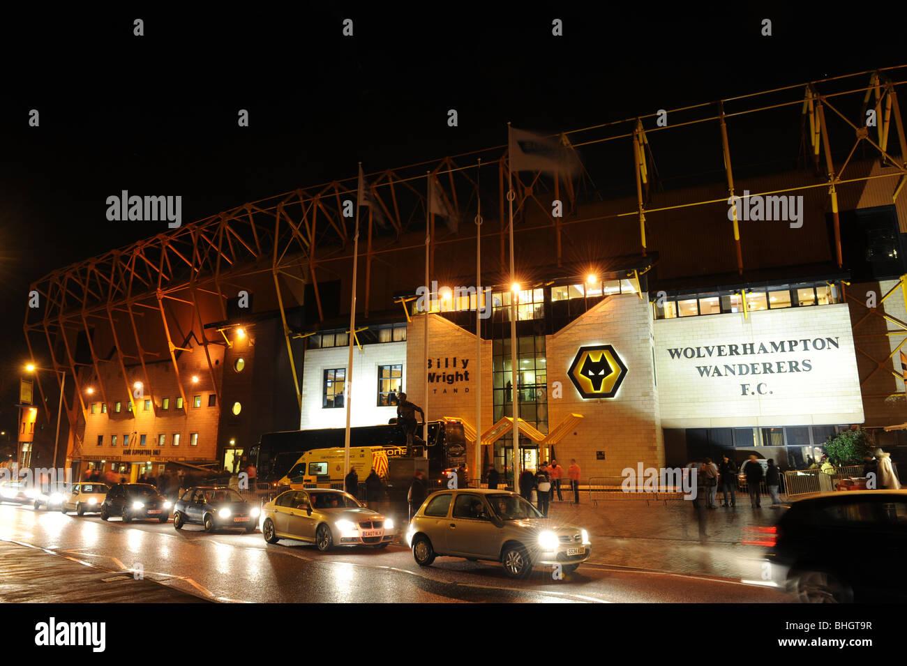 Molineux stadium at night home of Wolverhampton Wanderers Football Club - Stock Image