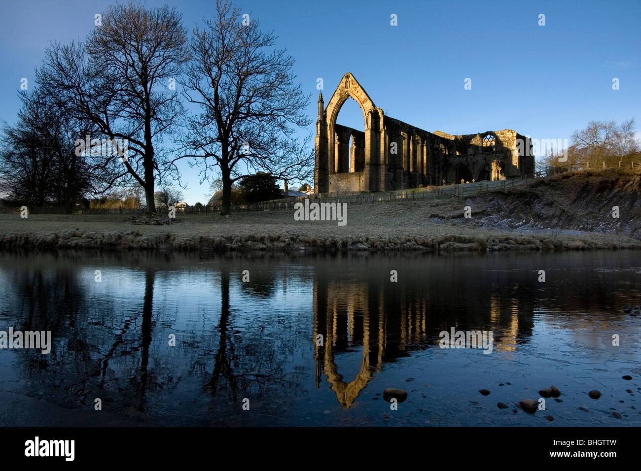The ruins of Bolton Abbey (Bolton Priory) in Wharfedale in the Yorkshire Dales national park, england, uk - Stock Image