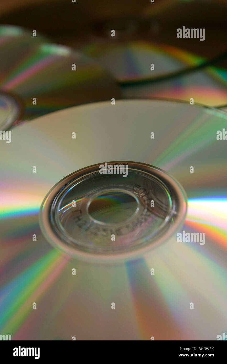 A scattering of blank recordable compact discs - Stock Image