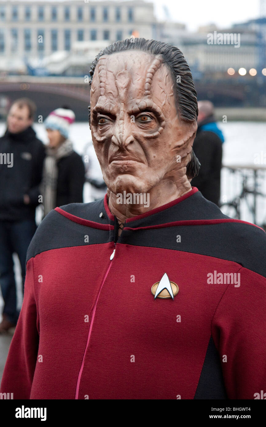 Star Trek fan in London for the world record of the most amount of people dressed as Star Trek characters, England, - Stock Image