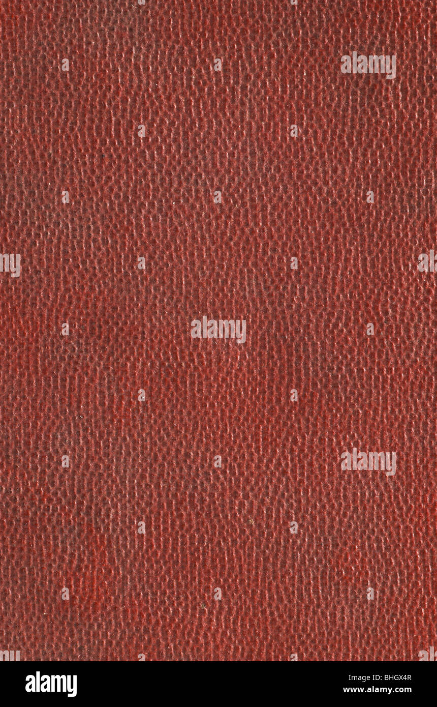 A close up leather textured book cover - Stock Image