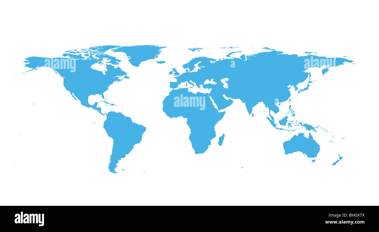 Blue world map against white background Stock Photo 28031358 Alamy