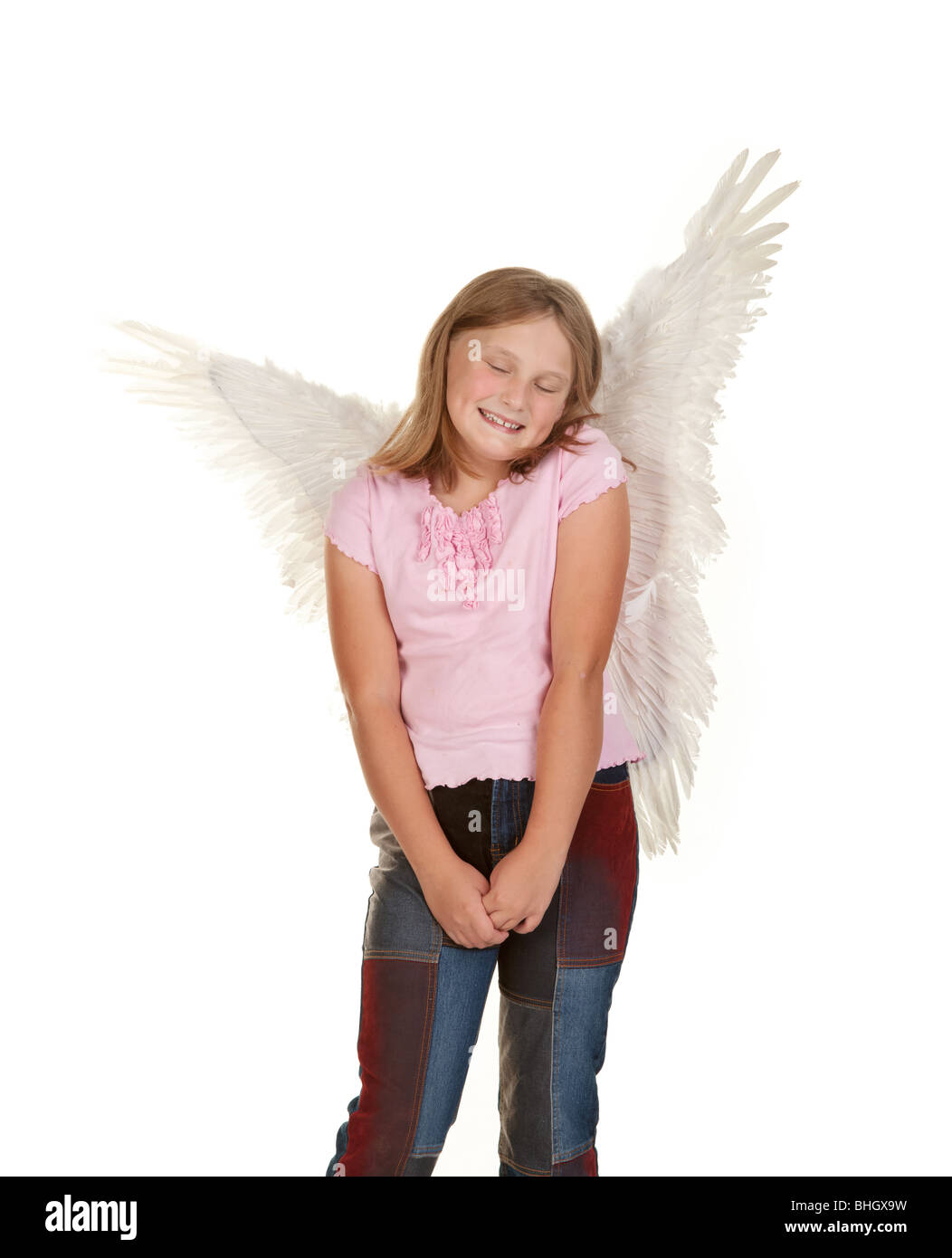 Sweet And Innocent Young Fairy Angel Girl Isolated On White Stock