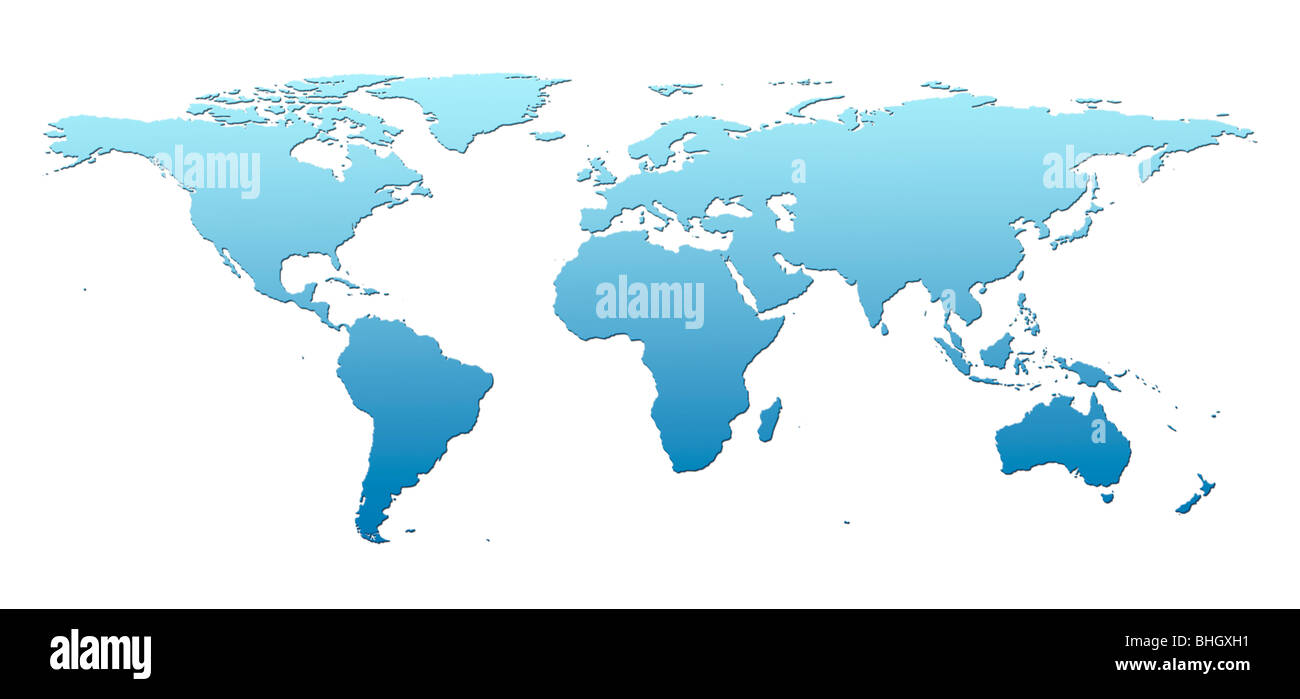 Light blue world map against a white background Stock Photo