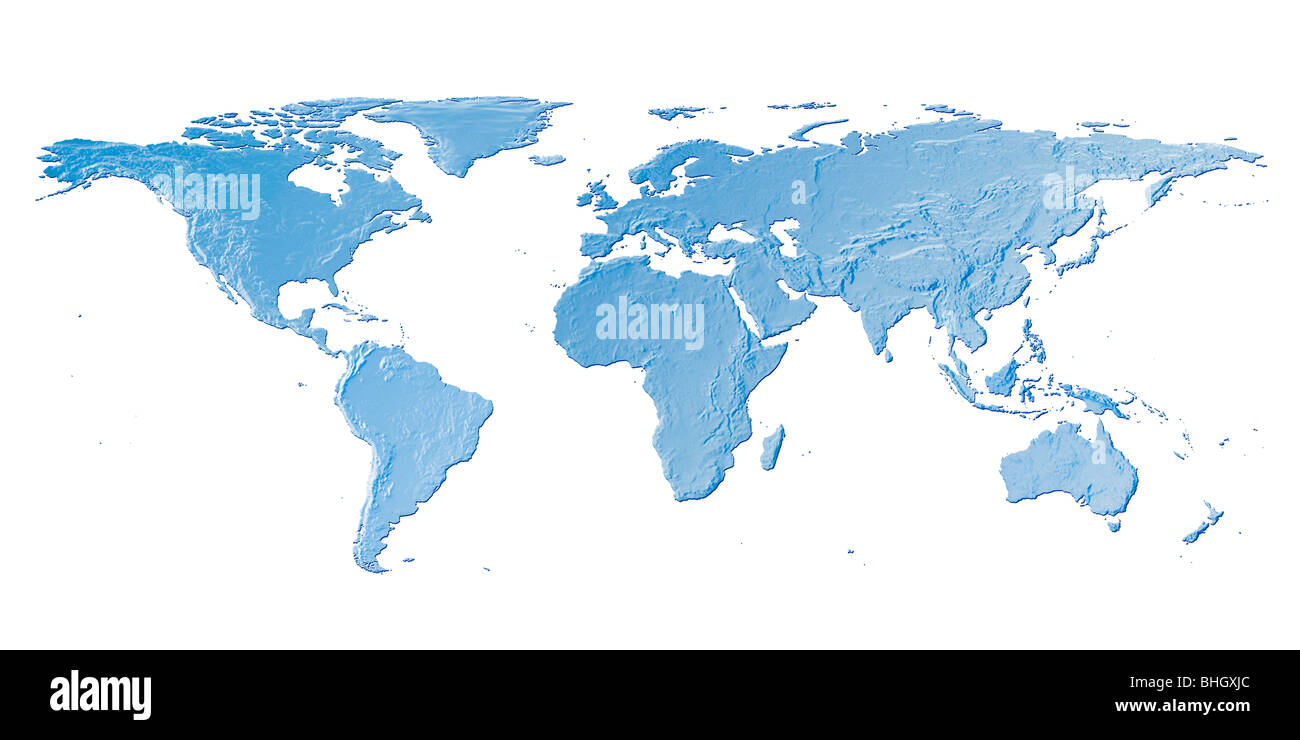 blue world map against a white background